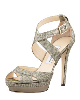Jimmy Choo Kuki Glitter Platform Pump, Light Bronze