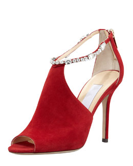 Jimmy Choo Farah Crystal-Trim Suede Sandal, Red