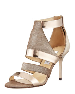 Jimmy Choo Berlin Metallic Sandal, Light Bronze