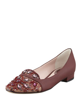 Rene Caovilla Leather and Lace Embellished Slipper, Burgundy