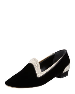 Rene Caovilla Crystallized Velvet Smoking Slipper, Black
