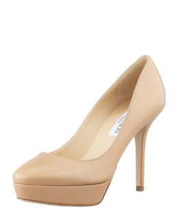 Jimmy Choo Aster Leather Low-Ranger Pump, Nude