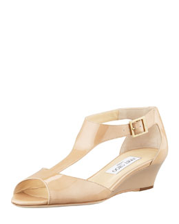 Jimmy Choo Treat Patent T-Strap Wedge Sandal