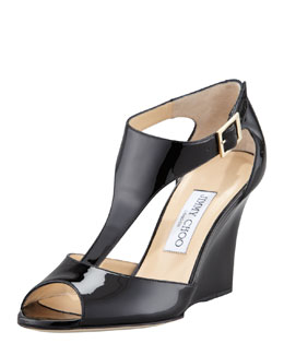 Jimmy Choo Token T-Strap Wedge, Black