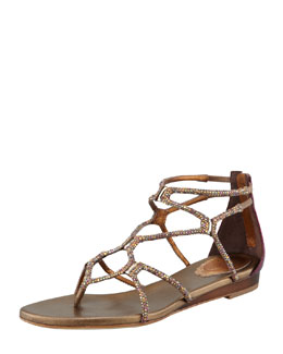 Rene Caovilla Crystallized Flat Thong Sandal, Gold/Purple