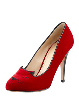 Charlotte Olympia Kitty Cat-Embroidered Velvet Pump, Red