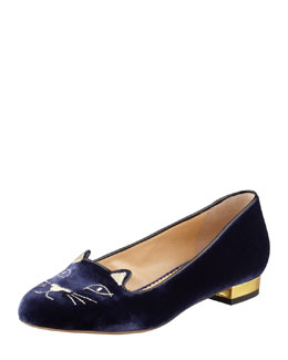 Charlotte Olympia Kitty Cat-Embroidered Velvet Slipper, Navy