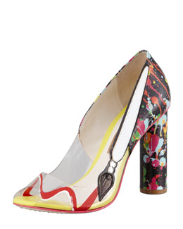 Sophia Webster Pretty Like Pollock Paint-Splatter Vinyl Pump