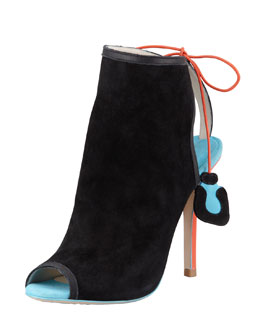 Sophia Webster Tali Suede Peep-Toe Bootie, Black