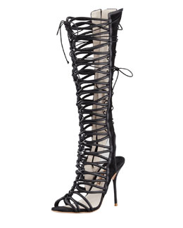 Sophia Webster Clementine Strappy To-the-Knee Sandal Boot
