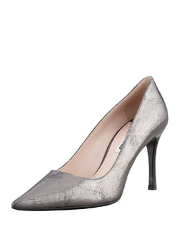 Miu Miu Crackled Metallic Vernice-Heel Pump