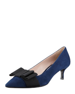 Miu Miu Suede Low-Heel Bow Pump