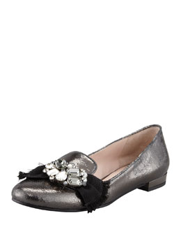 Miu Miu Metallic Crystal Bow Smoking Slipper