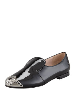 Miu Miu Vernice Perforated Metal Cap Toe Loafer