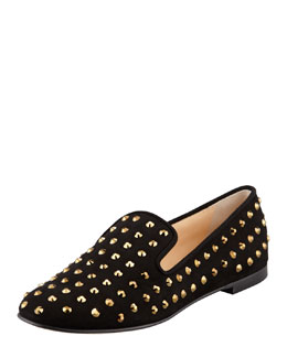 Giuseppe Zanotti Crystal-Embellished Suede Smoking Slipper