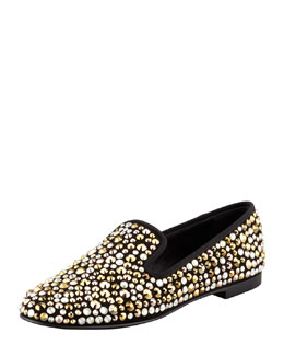 Giuseppe Zanotti Multi Crystal-Covered Smoking Slipper, Nero