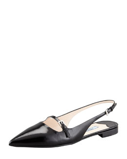 Prada Leather Mary-Jane Slingback Flat