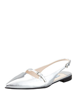 Prada Metallic Mary-Jane Flat