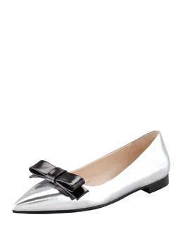 Prada Metallic Pointed-Toe Flat, Silver/Black