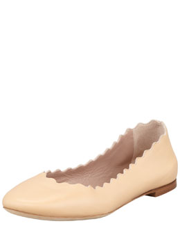 Chloe Scalloped Leather Ballerina Flat, Beige