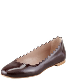 Chloe Scalloped Patent Leather Ballerina Flat, Red Grape
