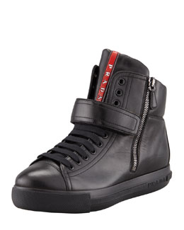 Prada Leather Front-Strap Hidden Wedge Sneaker