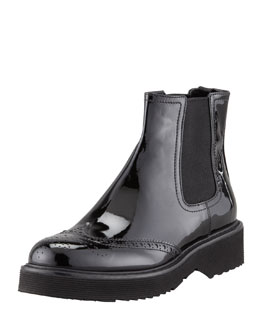Prada Patent Leather Slip-On Ankle Boot, Black