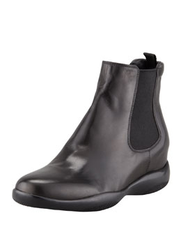 Prada Leather Slip-On Ankle Bootie