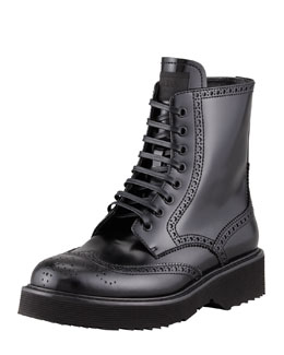 Prada Spazzolato Wingtip Lace-Up Boot