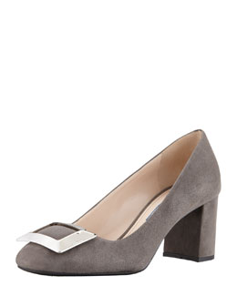 Prada Suede Buckled Block-Heel Pump, Gray