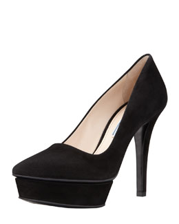 Prada Suede Pointed-Toe Island Platform Pump, Black