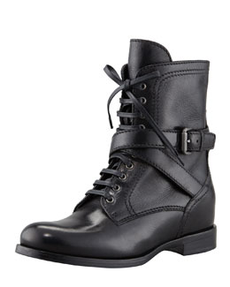 Prada Lace-Up Hidden Wedge Combat Boot