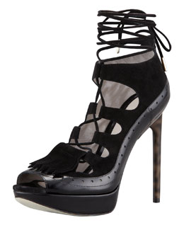 Jason Wu Lace-Up High Heel Platform Sandal, Black