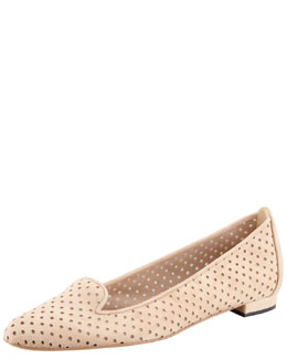 MANOLO BLAHNIK Sharifac Perforated Suede Flat, Beige