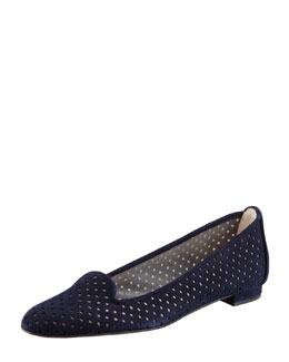 MANOLO BLAHNIK Sharifac Perforated Suede Flat, Navy