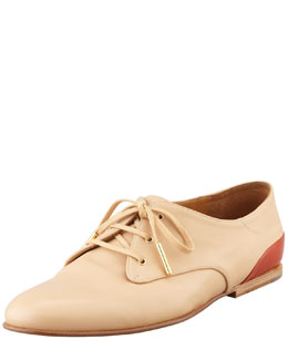 Chloe Flat Leather Contrast-Back Derby