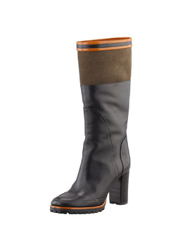 Chloe Sporty Mid-Calf Boot, Black/Olive/Orange