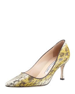 MANOLO BLAHNIK Newcio Water Snake Pump, Green