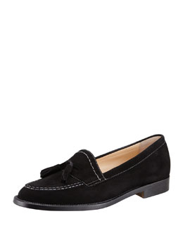 Manolo Blahnik Aldena Tasseled Suede Loafer, Black