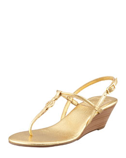 Tory Burch Emmy Demi Wedge Thong Sandal, Gold