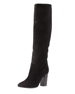 Lanvin Suede Pull-On Knee Boot, Black
