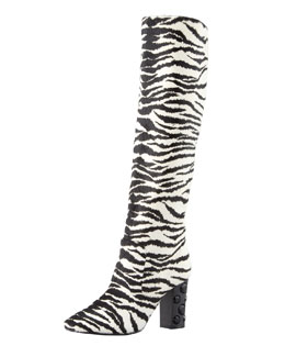 Lanvin Tiger-Print Pull-On Knee Boot, White/Black
