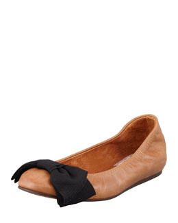 Lanvin Grosgrain-Bow Leather Ballerina Flat, Cognac