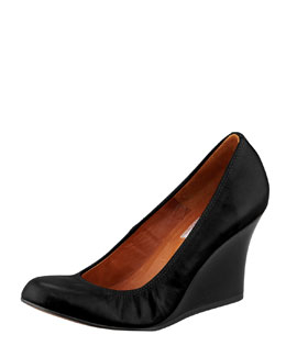 Lanvin Calfskin Ballerina Wedge Pump, Black