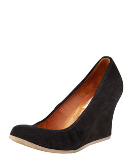 Lanvin Suede Ballerina Wedge Pump, Black
