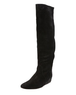 Lanvin Suede To-the-Knee Wedge Boot, Black