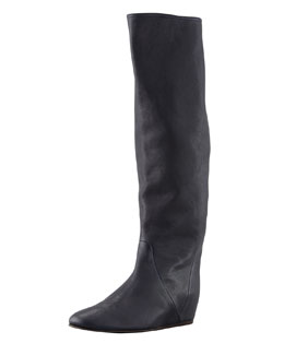 Lanvin Leather Wedge Knee Boot, Dark Black