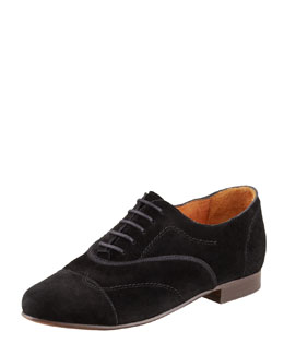 Lanvin Flat Suede Oxford, Black