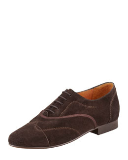 Lanvin Flat Suede Oxford, Brown