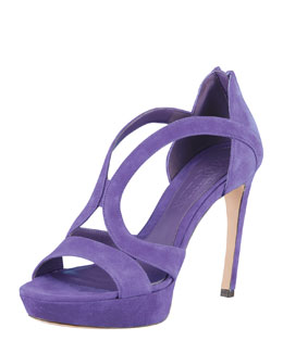 Alexander McQueen Armadillo Low-Heel Double-Arched Suede Sandal, Purple